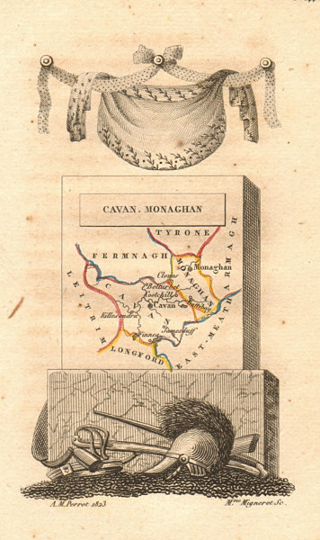 Associate Product MONAGHAN & CAVAN antique county map by PERROT. Ulster 1824 old