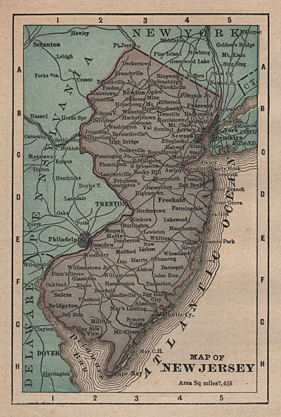 Antique miniature state map of New Jersey by K.L. Armstrong 1891 old