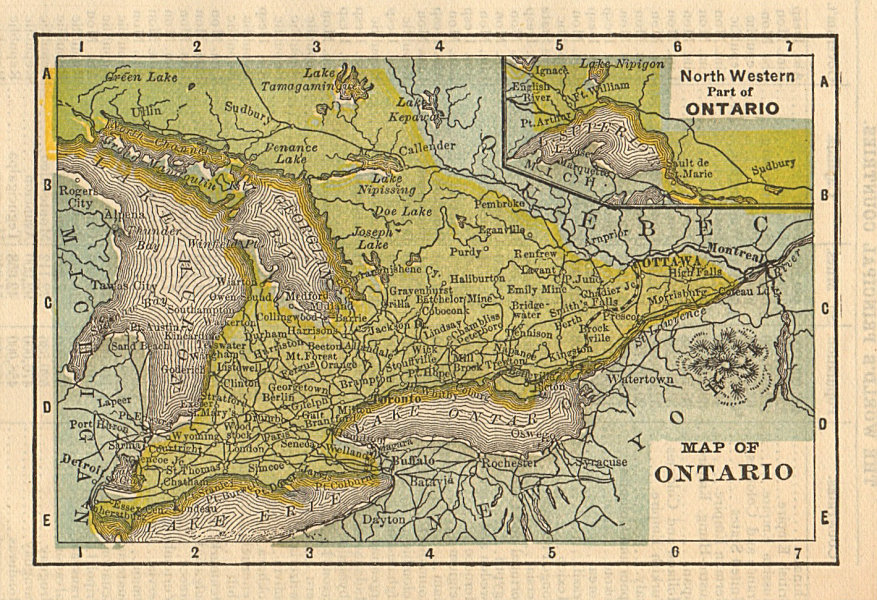 Associate Product Antique miniature province map of Ontario by K.L. Armstrong 1891 old