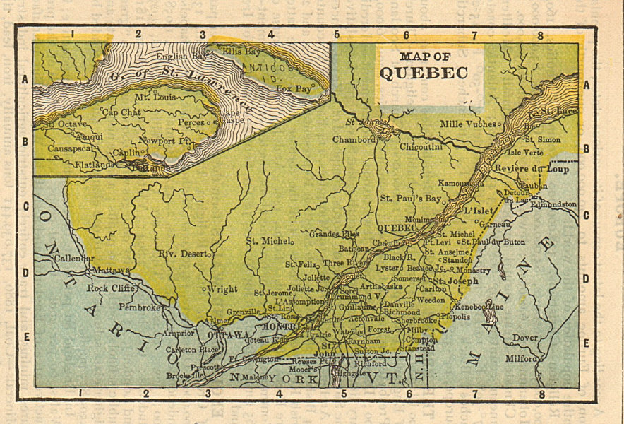 Associate Product Antique miniature province map of Quebec by K.L. Armstrong 1891 old