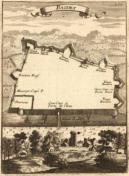 Associate Product BAGHDAD 'Bagdet' Walled city & fortifications plan Iraq MALLET Trimmed 1683 map