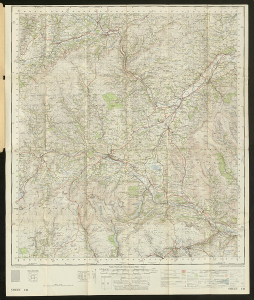 Brecon Sheet 141 Brecon Beacons Hay-on-Wye Valley ORDNANCE SURVEY 1952 old map