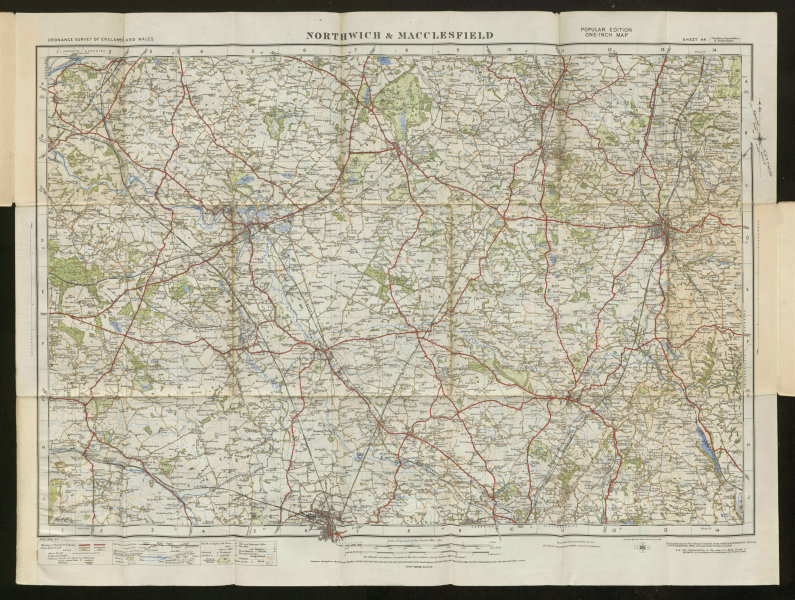 Associate Product Northwich Macclesfield Sheet 44 Wilmslow Crewe Cheshire ORDNANCE SURVEY 1925 map
