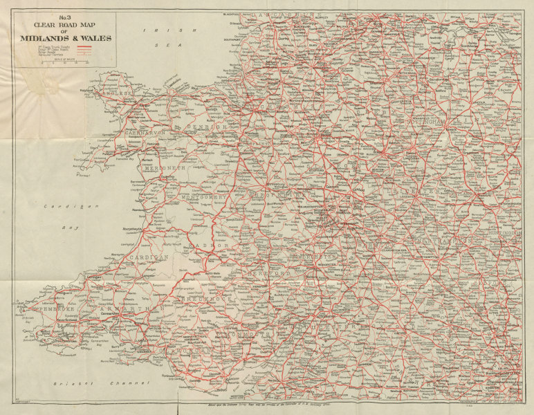 Associate Product No.3 Clear Road Map of Midlands & Wales. GEOGRAPHIA c1935 old vintage