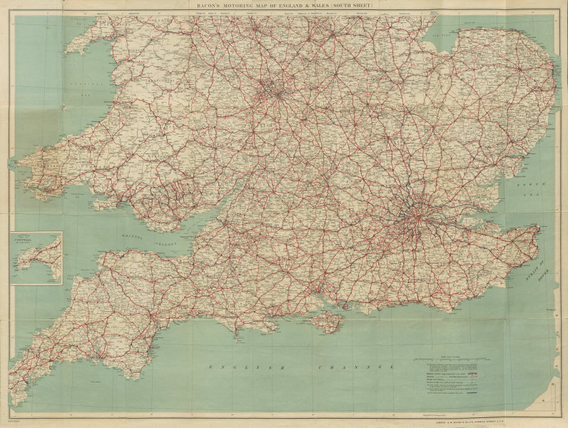 Associate Product Bacon's Motoring Map of England & Wales (South Sheet). New bypasses c1929