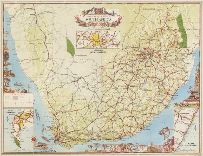 Associate Product Touristic map of the Republic of South Africa 1965 old vintage plan chart