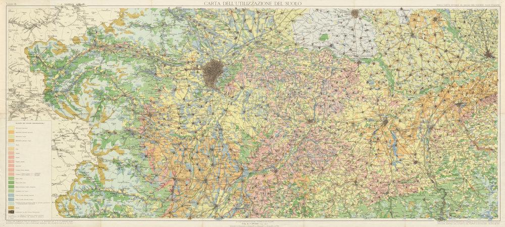 Associate Product Carta Utilizzazione Suolo 6 Soil use. Ferrara Modena Parma Padova 1965 old map