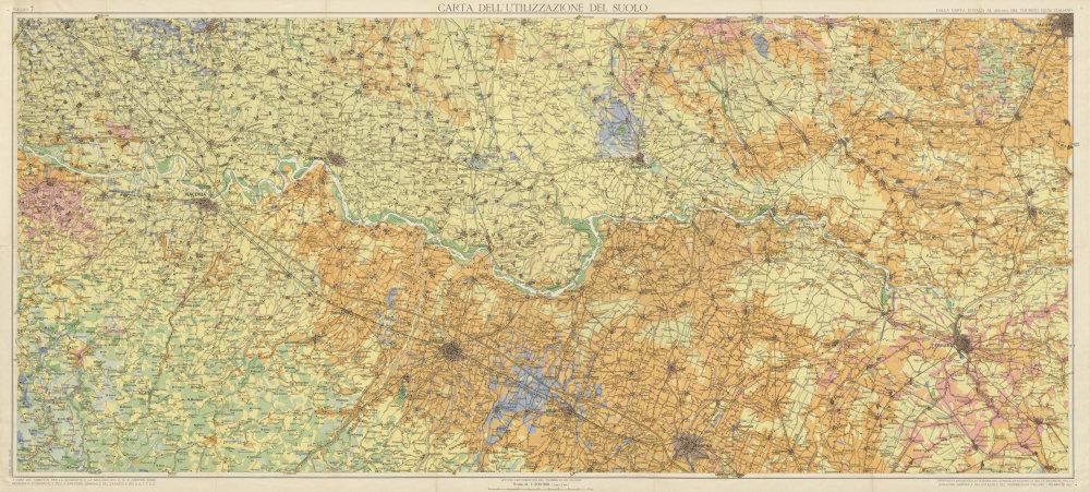 Associate Product Carta Utilizzazione Suolo 7. Soil use. Piemonte Torino Pavia Turin 1963 map
