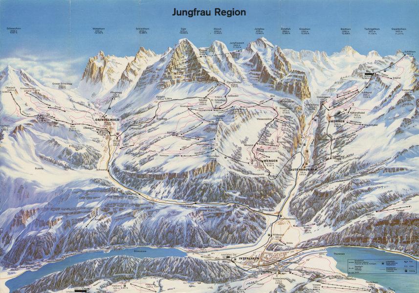 Associate Product Vintage Jungfrau Region ski lift piste map. Mürren Interlaken Wengen c1975