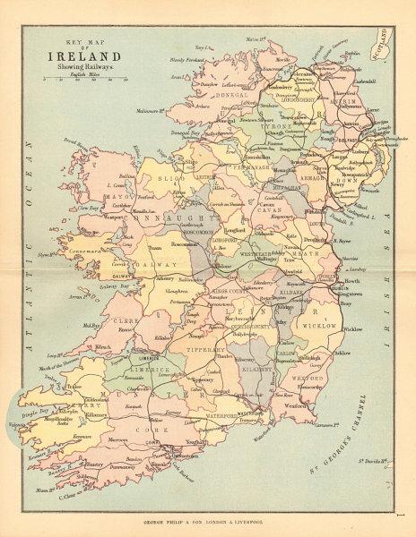 Associate Product IRELAND. showing railways counties & provinces. BARTHOLOMEW 1886 old map