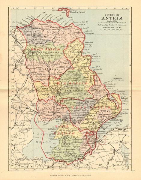 Associate Product COUNTY ANTRIM. Antique county map. Ulster Belfast Lisburn. BARTHOLOMEW 1886