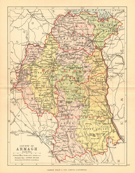 Map Of N Ireland.Details About County Armagh Antique County Map Ulster Portadown N Ireland Bartholomew 1886