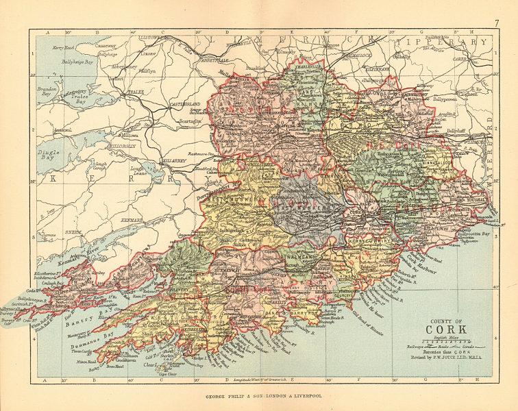 Associate Product COUNTY CORK. Antique county map. Munster. Ireland. BARTHOLOMEW 1886 old