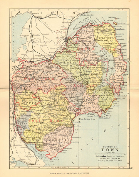 Associate Product COUNTY DOWN. Antique county map. Ulster Belfast Lisburn Bangor. BARTHOLOMEW 1886