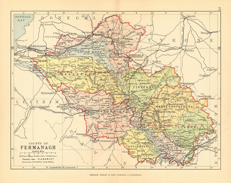 County Map Of Northern Ireland.Details About County Fermanagh Antique County Map Ulster Northern Ireland Bartholomew 1886
