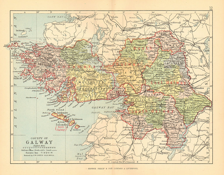 Associate Product COUNTY GALWAY. Antique county map. Connaught. Ireland. BARTHOLOMEW 1886