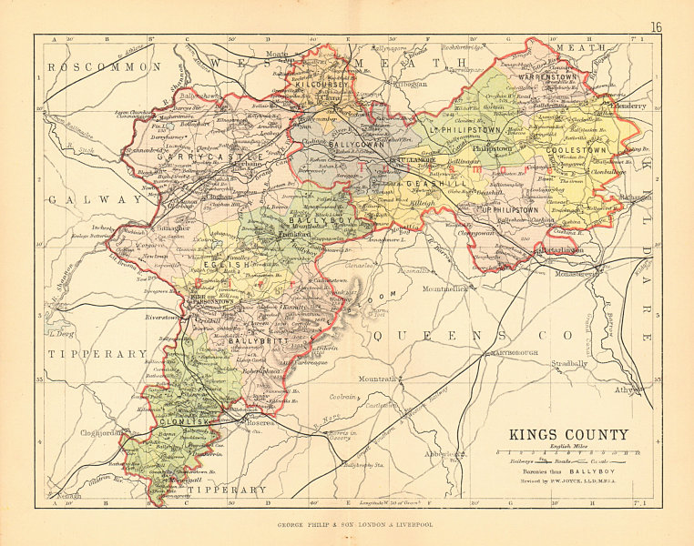 Associate Product KINGS COUNTY (OFFALY) . Antique county map. Leinster. Ireland. BARTHOLOMEW 1886