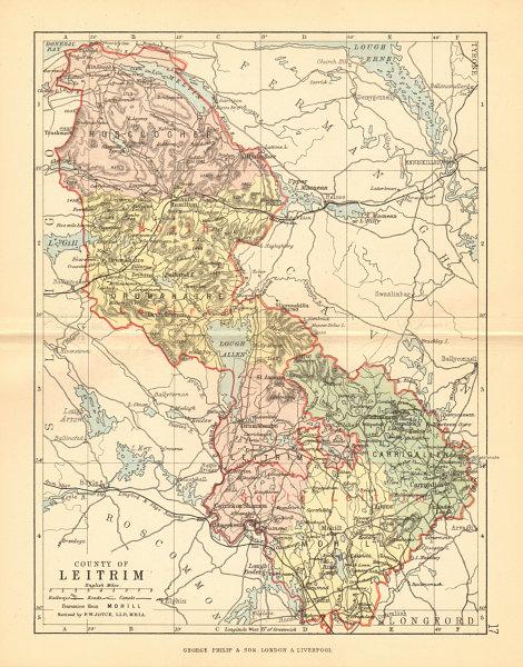 Associate Product COUNTY LEITRIM. Antique county map. Connaught. Ireland. BARTHOLOMEW 1886