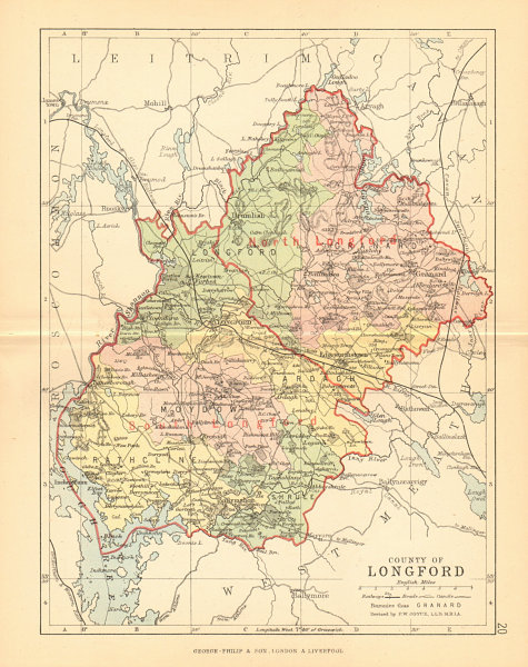 Associate Product COUNTY LONGFORD. Antique county map. Leinster. Ireland. BARTHOLOMEW 1886