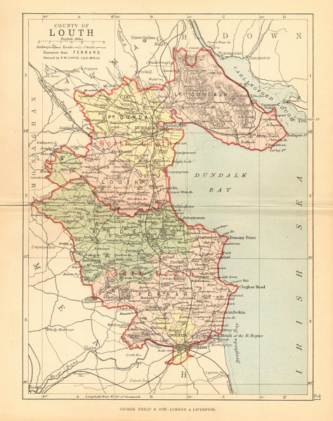 Associate Product COUNTY LOUTH. Antique county map. Leinster. Ireland. BARTHOLOMEW 1886 old