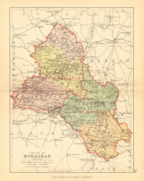 Associate Product COUNTY MONAGHAN. Antique county map. Ulster. Ireland. BARTHOLOMEW 1886 old