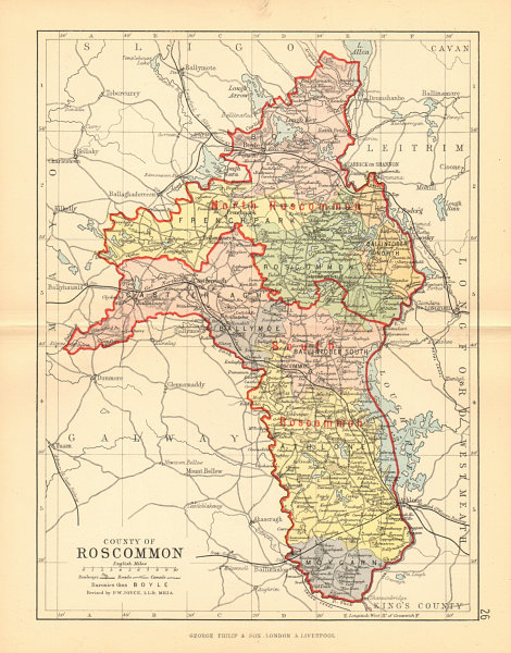 Associate Product COUNTY ROSCOMMON. Antique county map. Connaught. Ireland. BARTHOLOMEW 1886