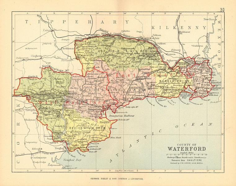 Map Of Waterford Ireland.Details About County Waterford Antique County Map Munster Ireland Bartholomew 1886