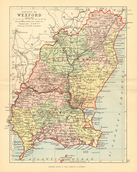 Wexford Map Of Ireland.Details About County Wexford Antique County Map Leinster Ireland Bartholomew 1886