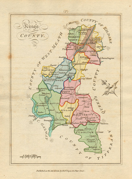 Associate Product Kings County (Offaly), Leinster. Antique copperplate map. Scalé / Sayer 1788
