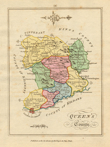 Associate Product Queens County (Laois), Leinster. Antique copperplate map. Scalé / Sayer 1788