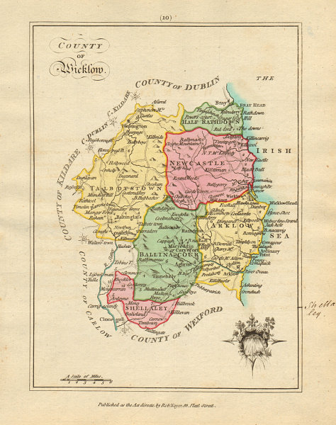 Associate Product County of Wicklow, Leinster. Antique copperplate map by Scalé / Sayer 1788