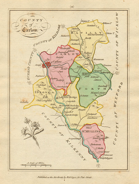 Associate Product County of Carlow, Leinster. Antique copperplate map by Scalé / Sayer 1788