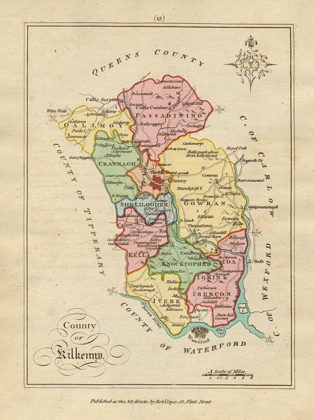 Associate Product County of Kilkenny, Leinster. Antique copperplate map by Scalé / Sayer 1788