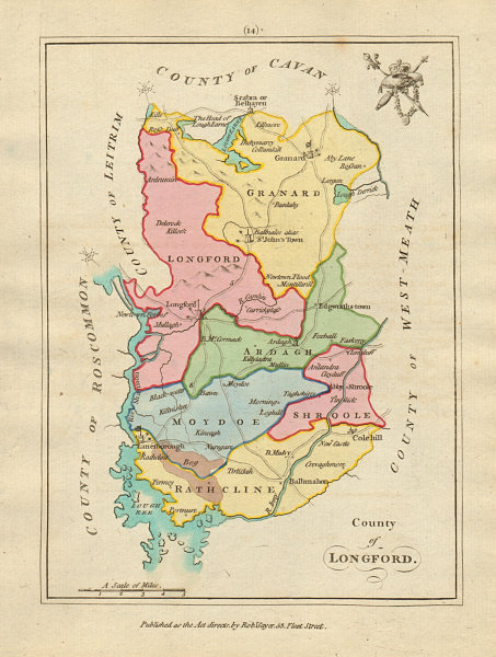 Associate Product County of Longford, Leinster. Antique copperplate map by Scalé / Sayer 1788