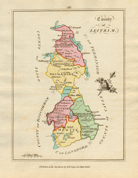 Associate Product County of Leitrim, Connaught. Antique copperplate map by Scalé / Sayer 1788