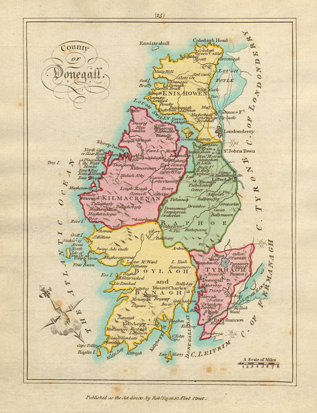 Associate Product County of Donegall, Ulster. Antique copperplate map by Scalé / Sayer 1788