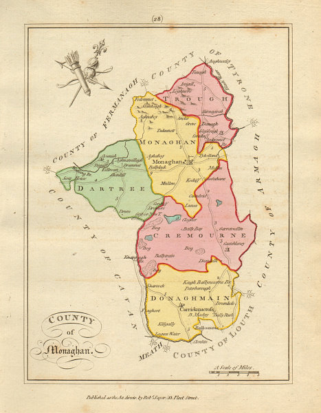 Associate Product County of Monaghan, Ulster. Antique copperplate map by Scalé / Sayer 1788