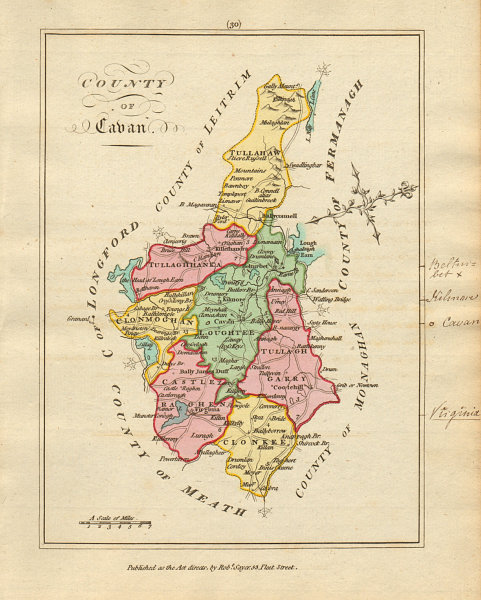 Associate Product County of Cavan, Ulster. Antique copperplate map by Scalé / Sayer 1788 old