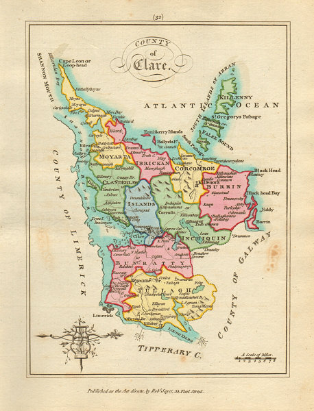 Associate Product County of Clare, Munster. Antique copperplate map by Scalé / Sayer 1788