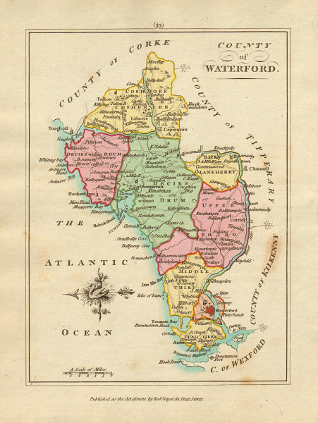 Associate Product County of Waterford, Munster. Antique copperplate map by Scalé / Sayer 1788