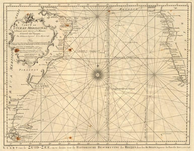 Associate Product 'Carte de l'Ocean Meridional'. South Atlantic Ocean. BELLIN/SCHLEY 1747 map