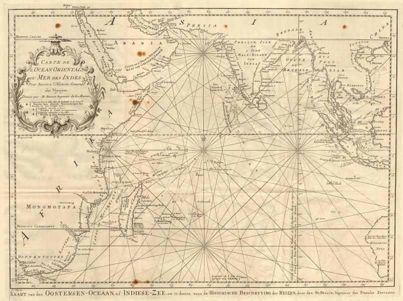 'Carte de l'Ocean Oriental ou Mer des Indes' Indian Ocean BELLIN/SCHLEY 1747 map