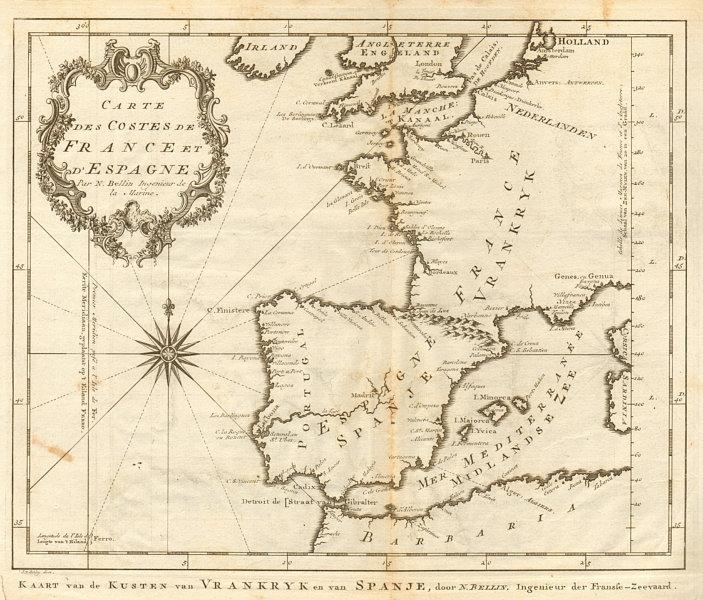 Associate Product Carte des Côtes de France & d'Espagne. France Spain coast BELLIN/SCHLEY 1747 map