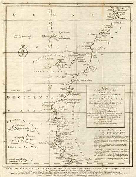 Associate Product 'Côte Occidentale d'Afrique…' NW Africa Madeira Canaries. BELLIN/SCHLEY 1747 map