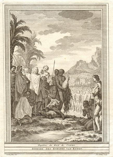 Associate Product 'Baptême du Roi de Congo'. Baptism of the King of Kongo. SCHLEY 1747 old print