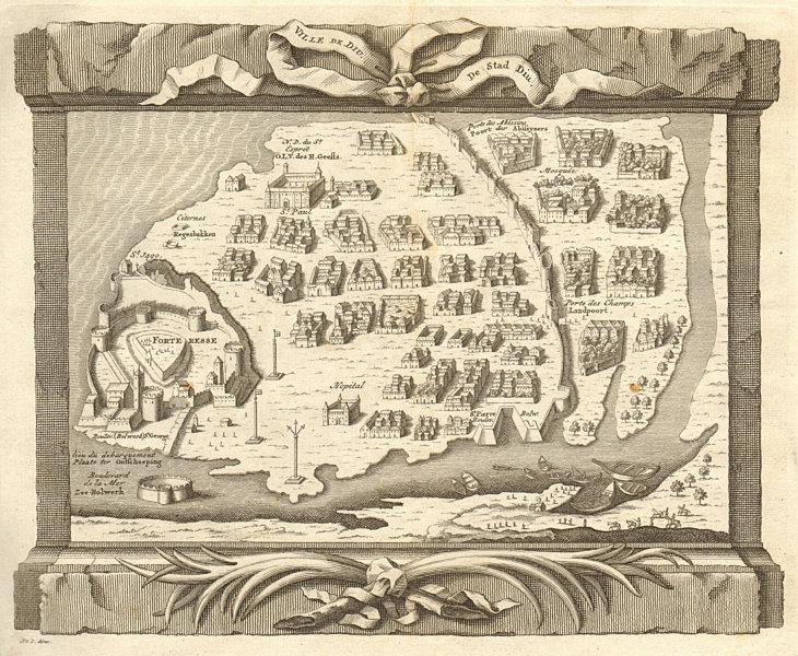 Associate Product 'Ville de Diu'. India. Diu city town plan, Daman & Diu. BELLIN / SCHLEY 1747 map