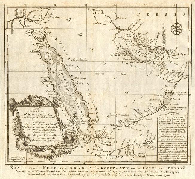 'La Côte d'Arabie, Mer Rouge & Golfe de Perse'. Arabia. BELLIN/SCHLEY 1747 map