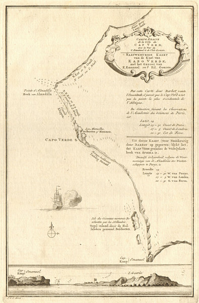 Carte Senegal Cap Vert.Details About Carte Exacte De La Cote Du Cap Verd Vert Senegal Dakar Bellin Schley 1747 Map
