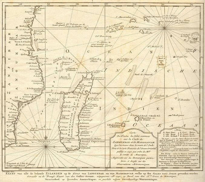 Associate Product 'Côte de Zanguébar & Madagescar' Indian Ocean East Africa BELLIN/SCHLEY 1747 map