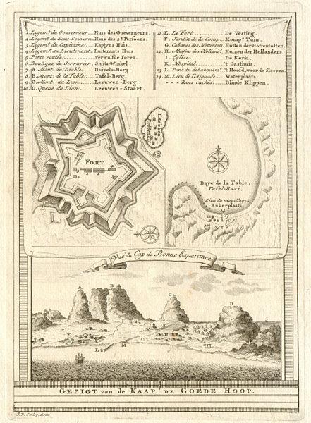 Associate Product 'Vûe du Cap de Bonne-Espérance'. Cape Town & Table Bay. BELLIN/SCHLEY 1747 map